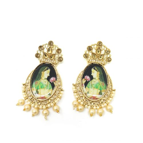 Indian Jewelry Kundan Artificial Stone Maharani Earrings Akkadevi