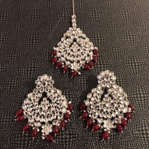 Indian Jewelry Noorie Earrings Tikka Set Silver