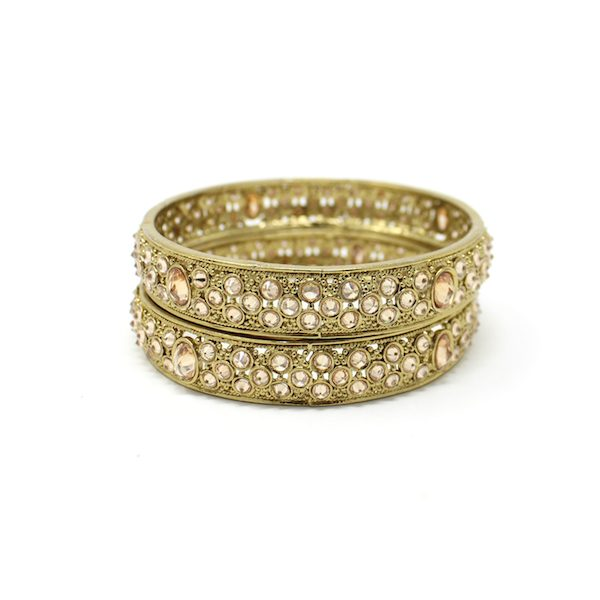Indian Jewelry Polki Kundan Bangles Antique Gold