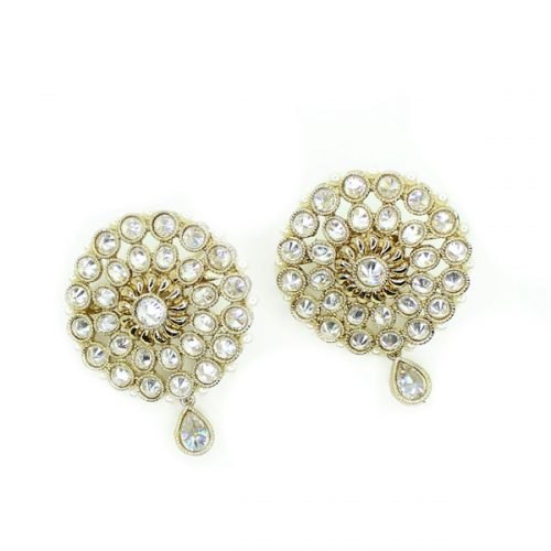 Indian Jewelry Earrings Araya Polki Kundan Stud Earring