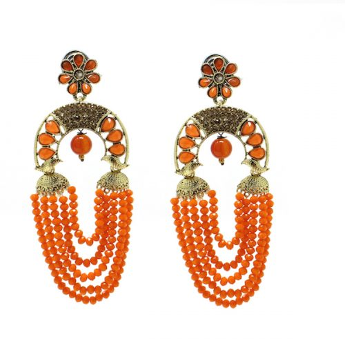 Indian Jewelry Kundan Stone Bead Earrings Colorful
