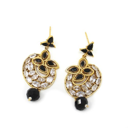 Black Indian Jewelry Polki Earrings with Diamond and pearl drops.