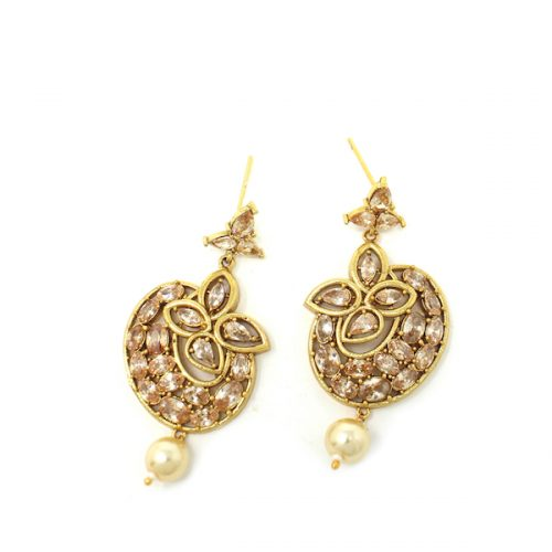 Rose Gold Indian Jewelry Polki Earrings with Diamond and pearl drops.