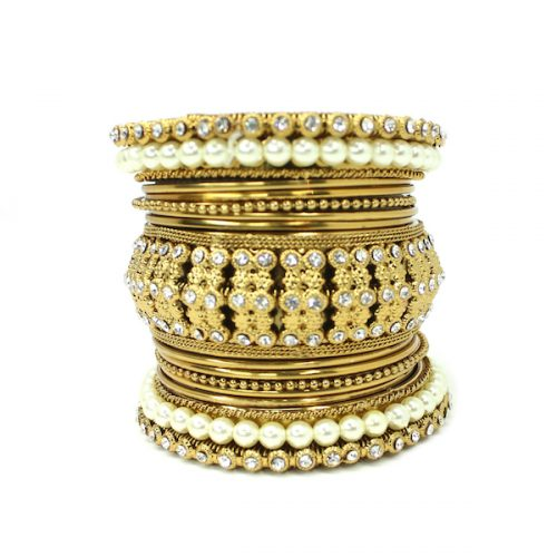 Indian Jewelry Metal Bangle set with Pearls Alvira Bangle