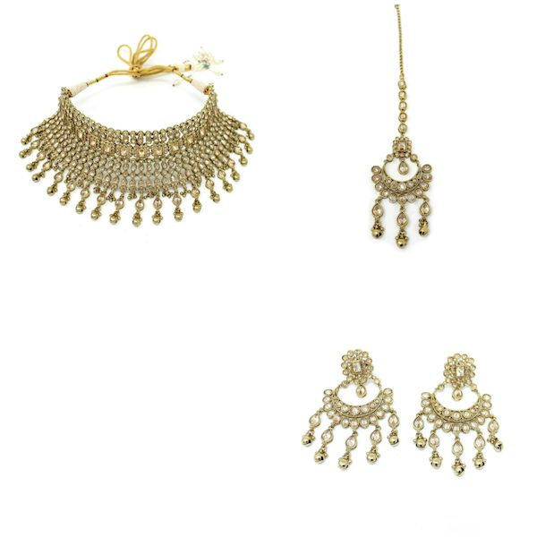 Indian Jewelry Polki Bridal Set Tikka Choker Necklace Earrings