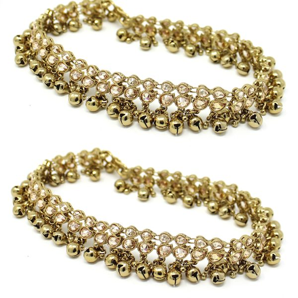 Indian Jewelry Antique Gold Anklets Jhanjhar