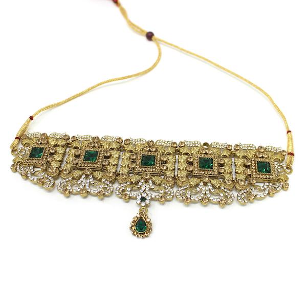 Indian Jewelry Choker Set Necklace Set Pearl Stone Azeen