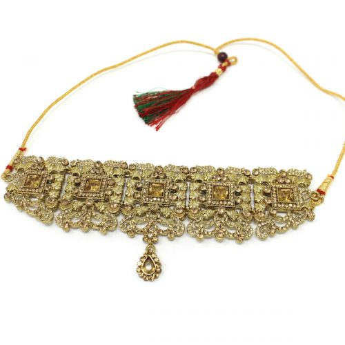 Indian Jewelry Choker Set Necklace Set Pearl Stone Azeen