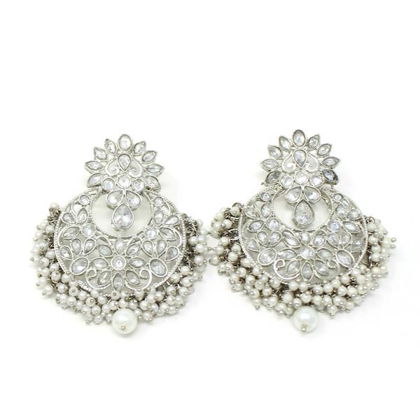 Indian Jewelry Barika Silver Earring Tikka Set