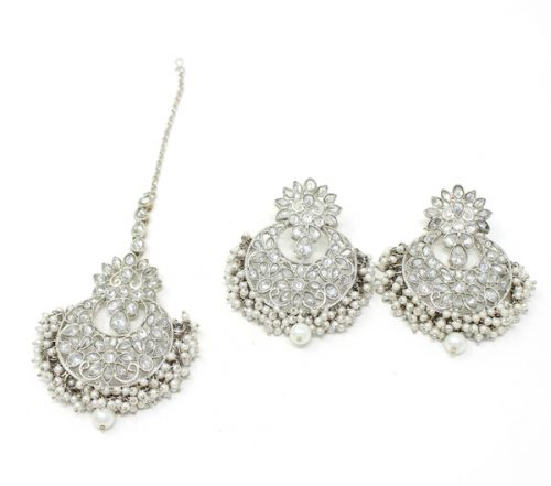 Indian Jewelry Barika Silver Earring Tikka Set