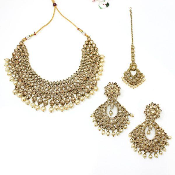 Indian Jewelry Polki Necklace Set Ballari