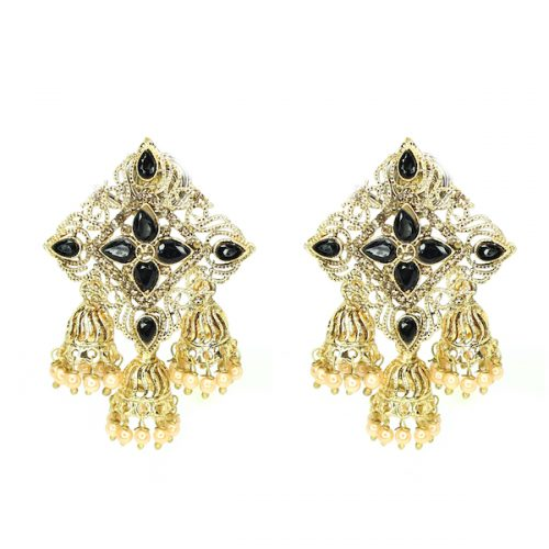 Artificial Kundan Indian Jewelry Earrings Black Sonal