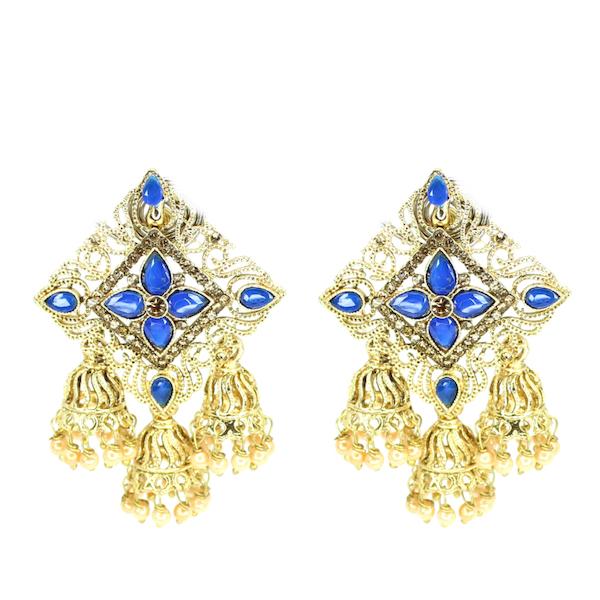 Artificial Kundan Indian Jewelry Earrings blue Sonal