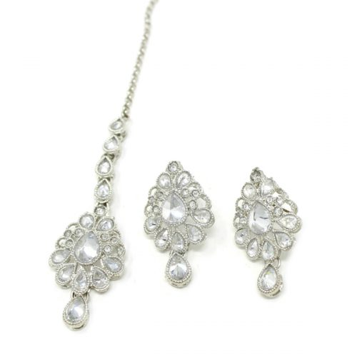 Indian Jewelry CARUVI Silver Earring Tikka Set