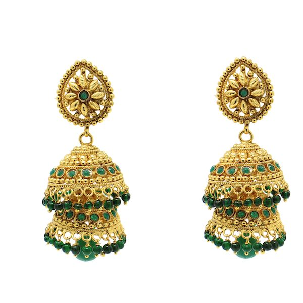 Indian Jewelry Polki Gold Jhumki Earrings