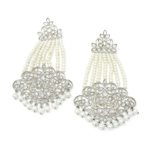 silver pearl drop earrings Keya
