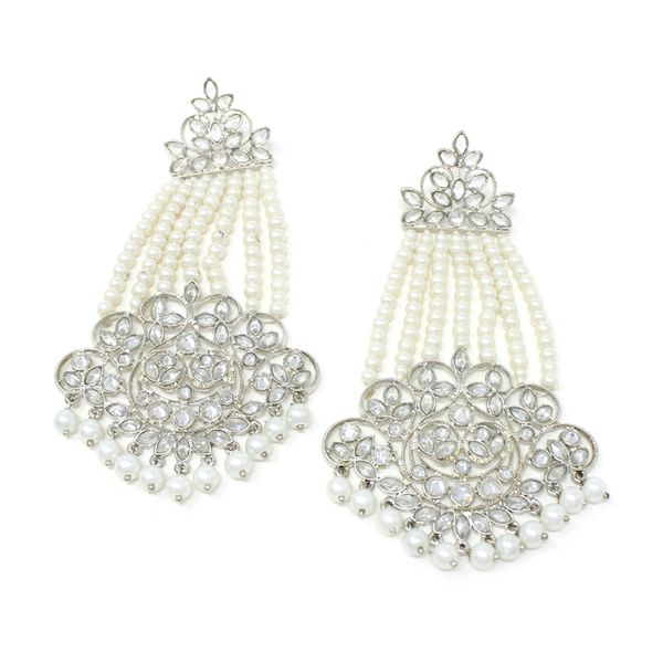 silver pearl drop earrings Keya