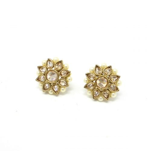 Indian Jewelry Polki Stud Tops Earrings