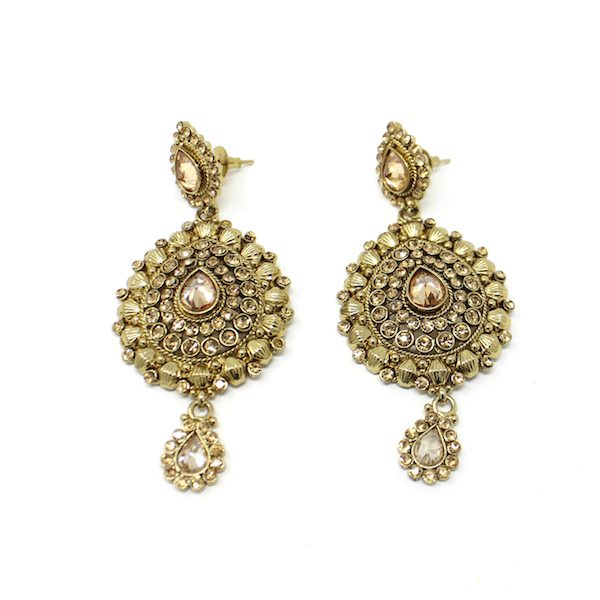 Indian Jewelry Polki Kundan Rebati Earrings Necklace Set