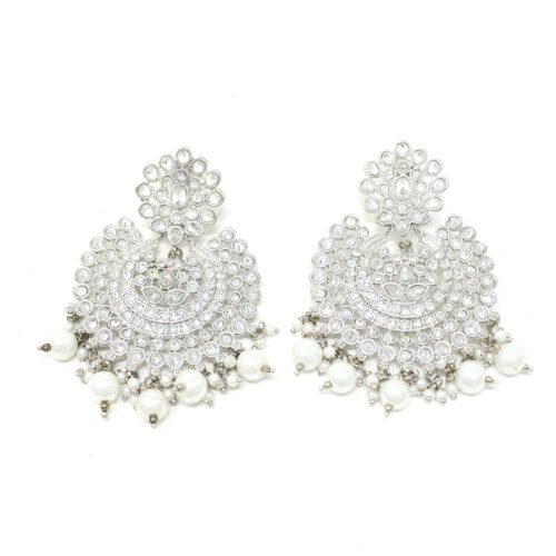 Indian Jewelry Ekayaa Silver Earring Tikka Set