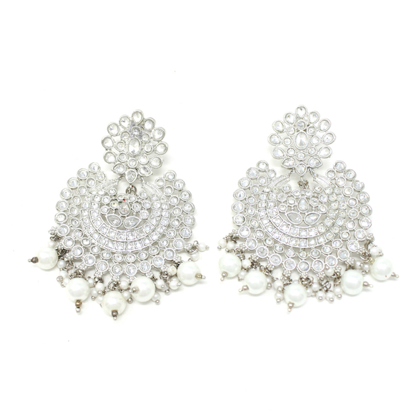 Indian Jewelry Ekayaa Silver Earring Tikka Set