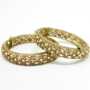 Indian Jewelry Polki Kundan Bangles Antique Gold Fariana