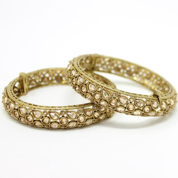 Indian Jewelry Polki Kundan Bangles Antique Gold Fariana