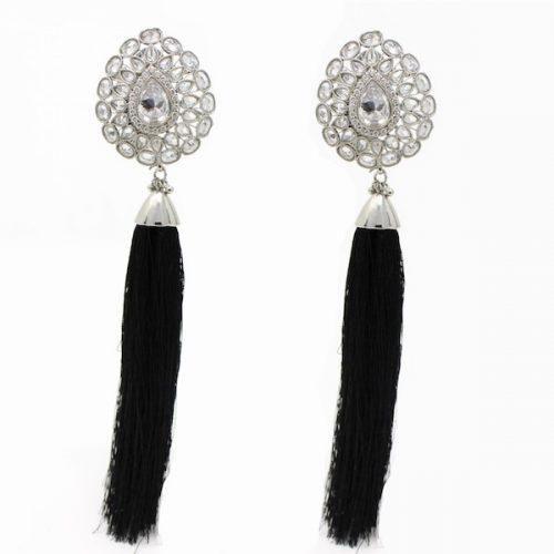 Indian Jewelry Tassel Earrings Black Haute Collection