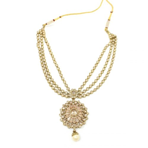 Antique Gold Unique Polki Necklace Set with Earrings and Tikka