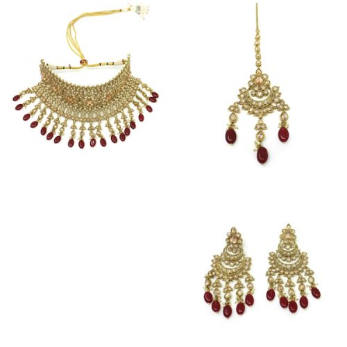 Indian Jewelry Polki Set Tikka Necklace Earrings