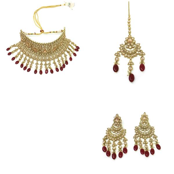 Indian Jewelry Polki Set Tikka Necklace Earrings