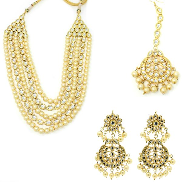 Indian Jewelry Kundan earrings Rani Haar Set
