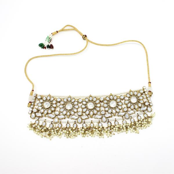 Indian Jewelry Kunda Bridal Set Tikka Choker Necklace Jhumki Earrings