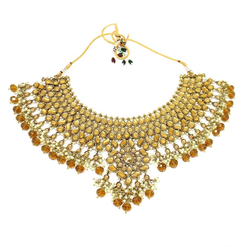 Apara Bridal Pearl Lct Stones Gold Necklace Set Jewellery: JHANVI
