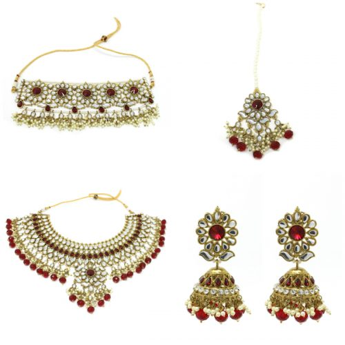 Indian Jewelry Kunda Bridal Set Tikka Choker Necklace Jhumki Earrings