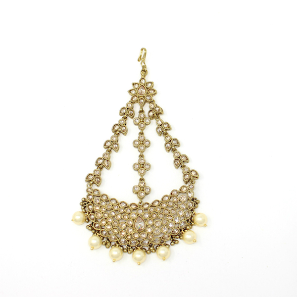 Indian Jewelry Polki Jhoomar Passa Antique Gold with Pearls Zada
