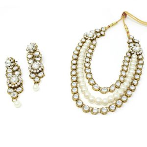 Indian Jewelry Necklace Set Rani Haar Stone Kundan