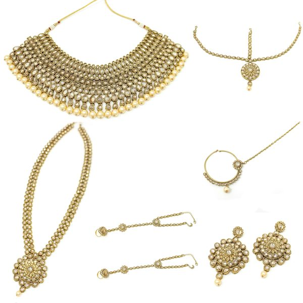 Indian Jewelry Full Bridal Set in Polki Antique Gold
