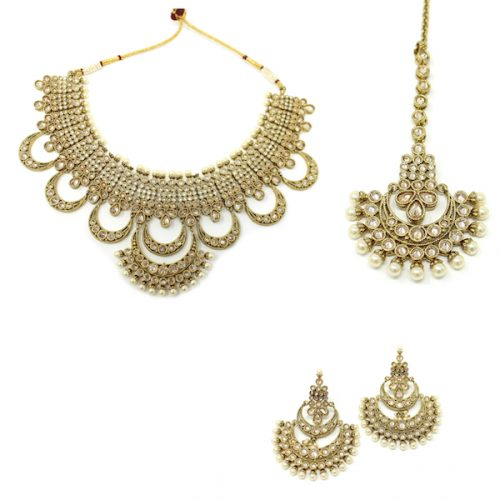 Indian Jewelry Polki Kundan Necklace Set with LCT stones