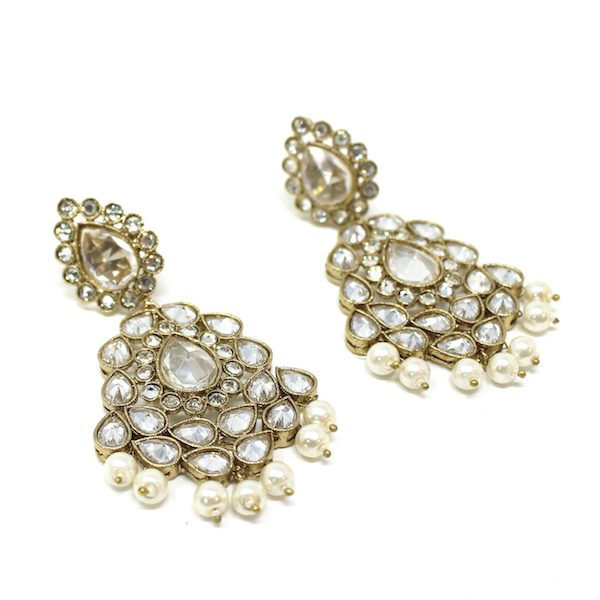 Indian Jewelry Antique Gold Stone Polki Earrings