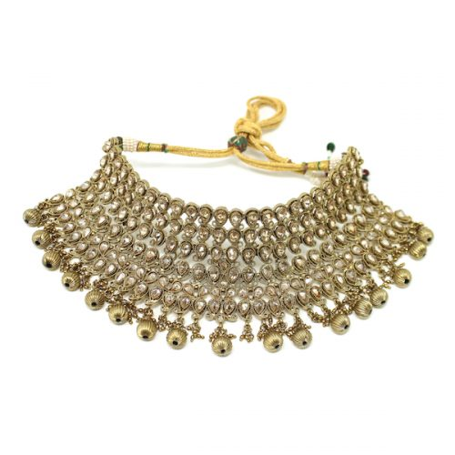 IIndian Jewelry Polki Antique Gold Necklace Set