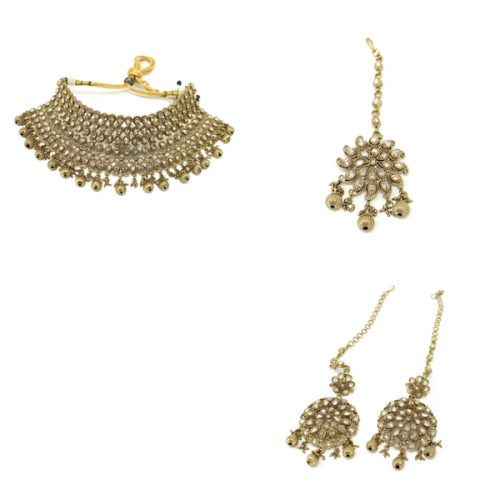 Indian Jewelry Polki Antique Gold Necklace Set