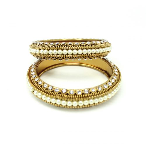 Indian Jewelry Metal Bangle set with Pearls Minal Bangle