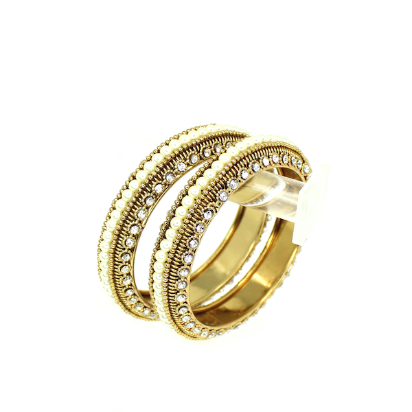 Indian Jewelry Metal Bangle set with Pearls Minal Bangle