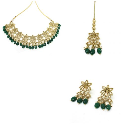 Antique Gold Unique Polki Necklace Set with Earrings and Tikka.