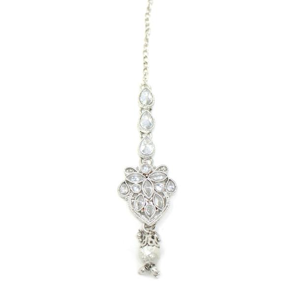 Indian Jewelry Silver Necklace Polki Stone Choker Set