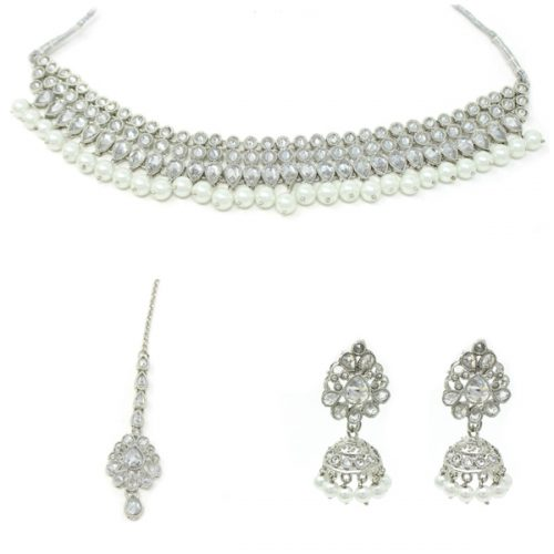 Indian Jewelry Silver Necklace Polki Stone Choker Set