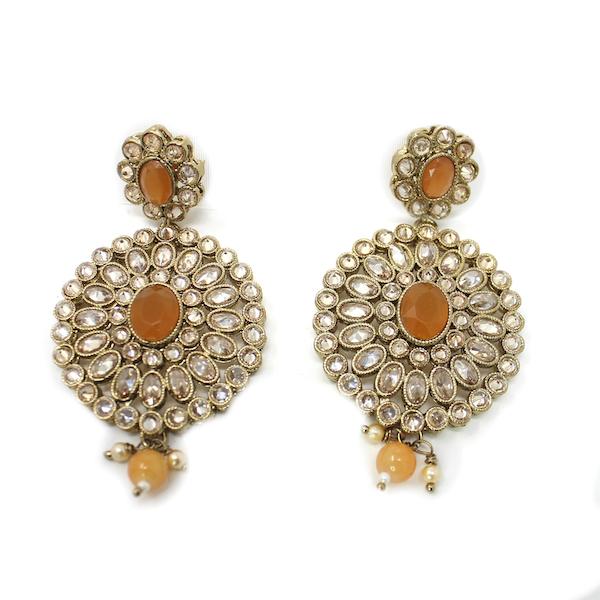 Artificial Polki Indian Jewelry Earrings Stone
