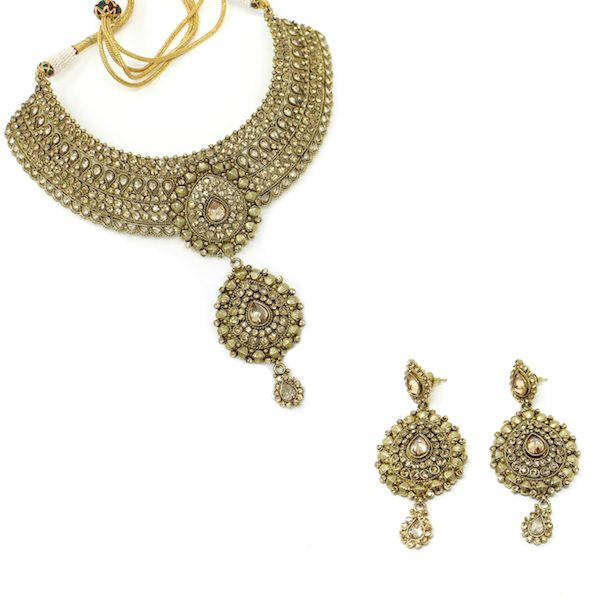 Indian Jewelry Polki Kundan Rebati Earrings Necklace Set