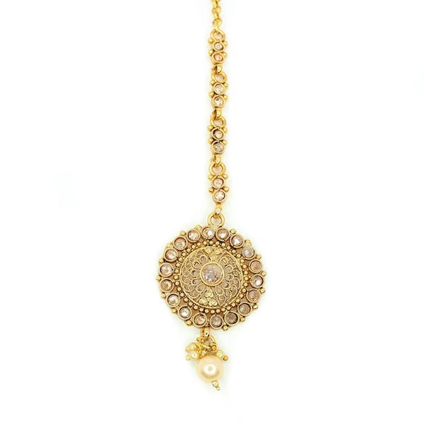 Indian Jewelry RIMA Stud Earring Tikka Set Kundan Polki Set Antique Gold Tikka Set